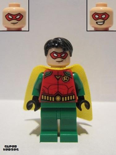 Robin LEGO Minifig White Eyes Head Male Red Eye Mask Smile // Grin -